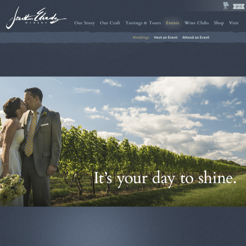 photos from weddings i've photographed at Jonathan Edwards Winery