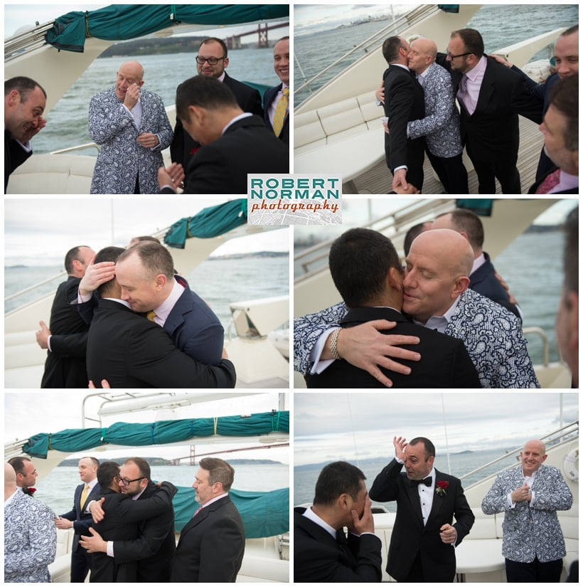 San Francisco gay wedding under the Golden Gate bridge aboard the Yacht Lady