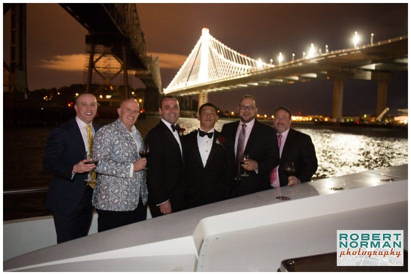 San Francisco gay wedding under the Golden Gate bridge aboard the Yacht Lady Bay Bridge