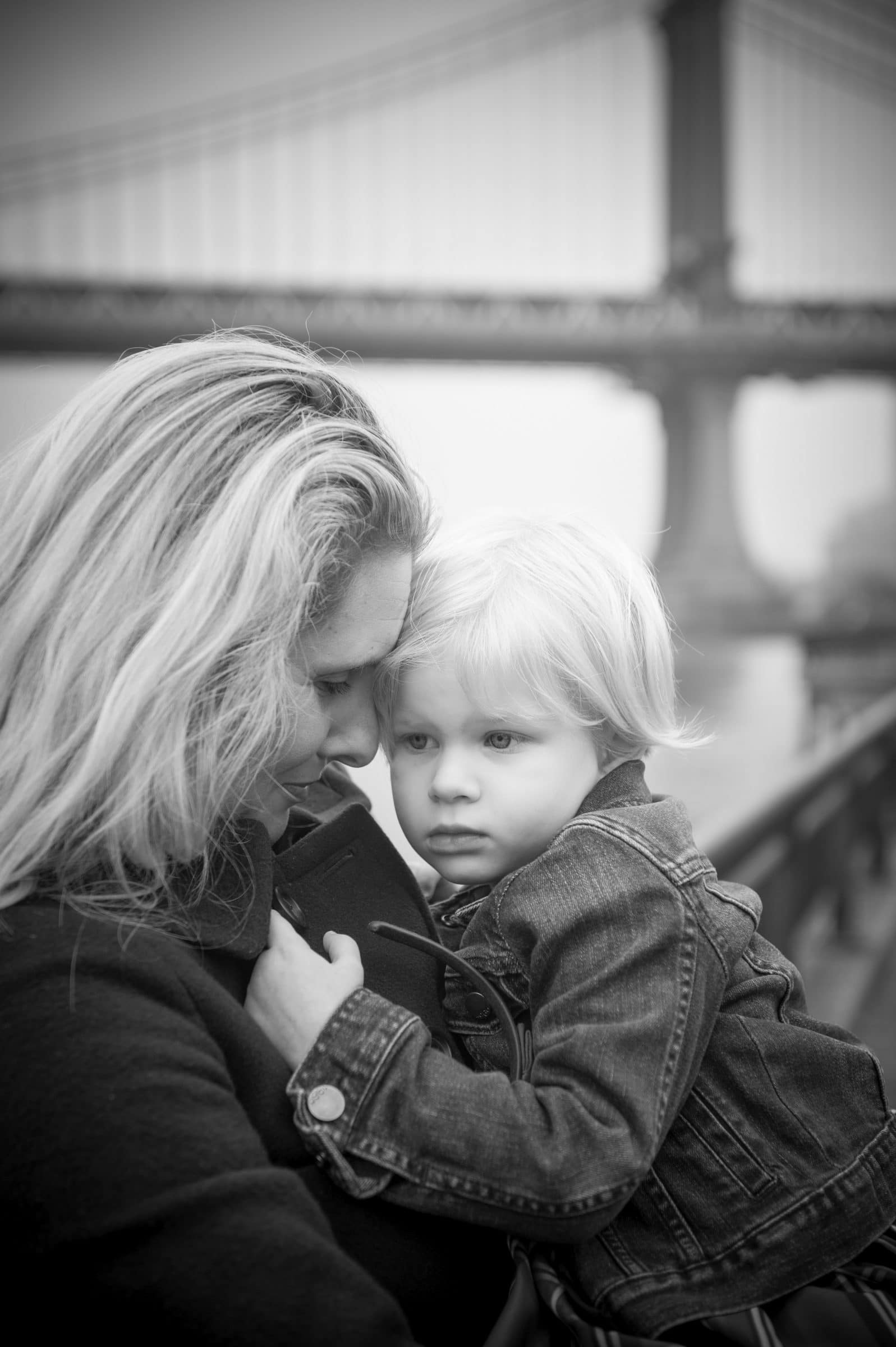 mom and son in NYC at Brooklyn Bridge