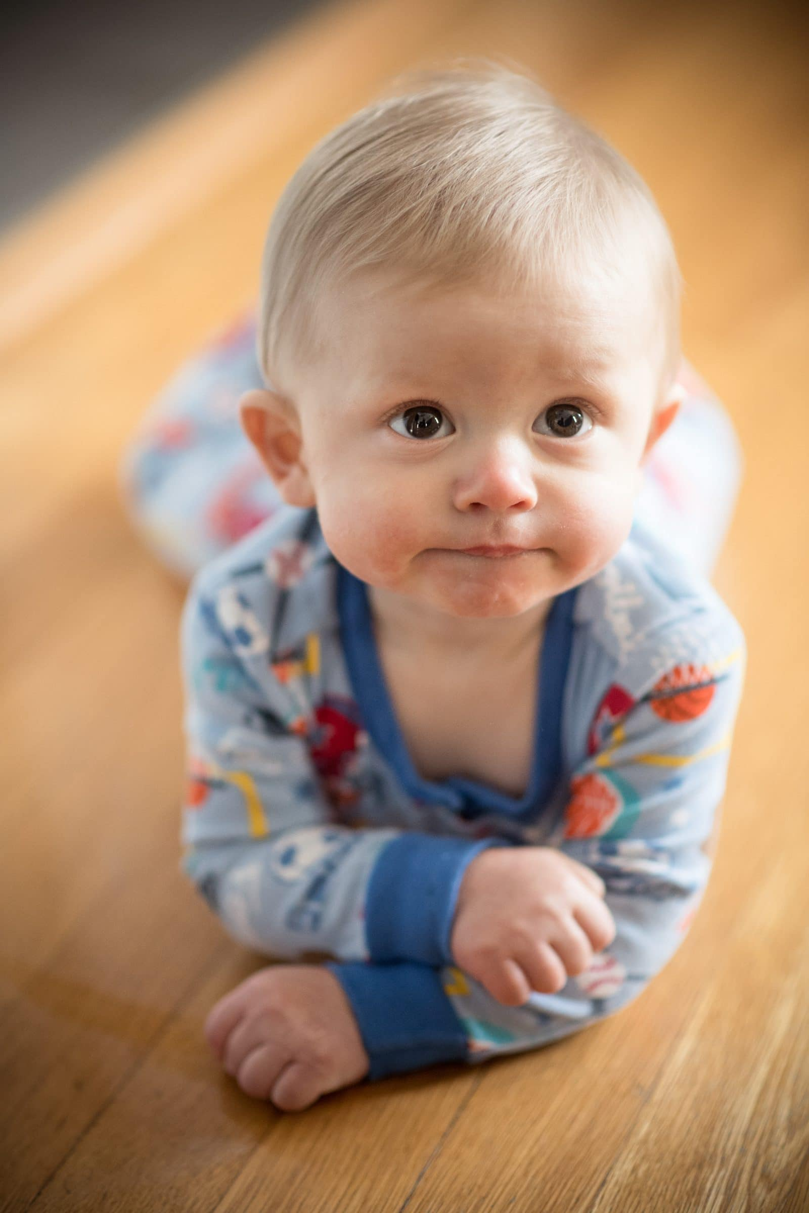 infant on belly
