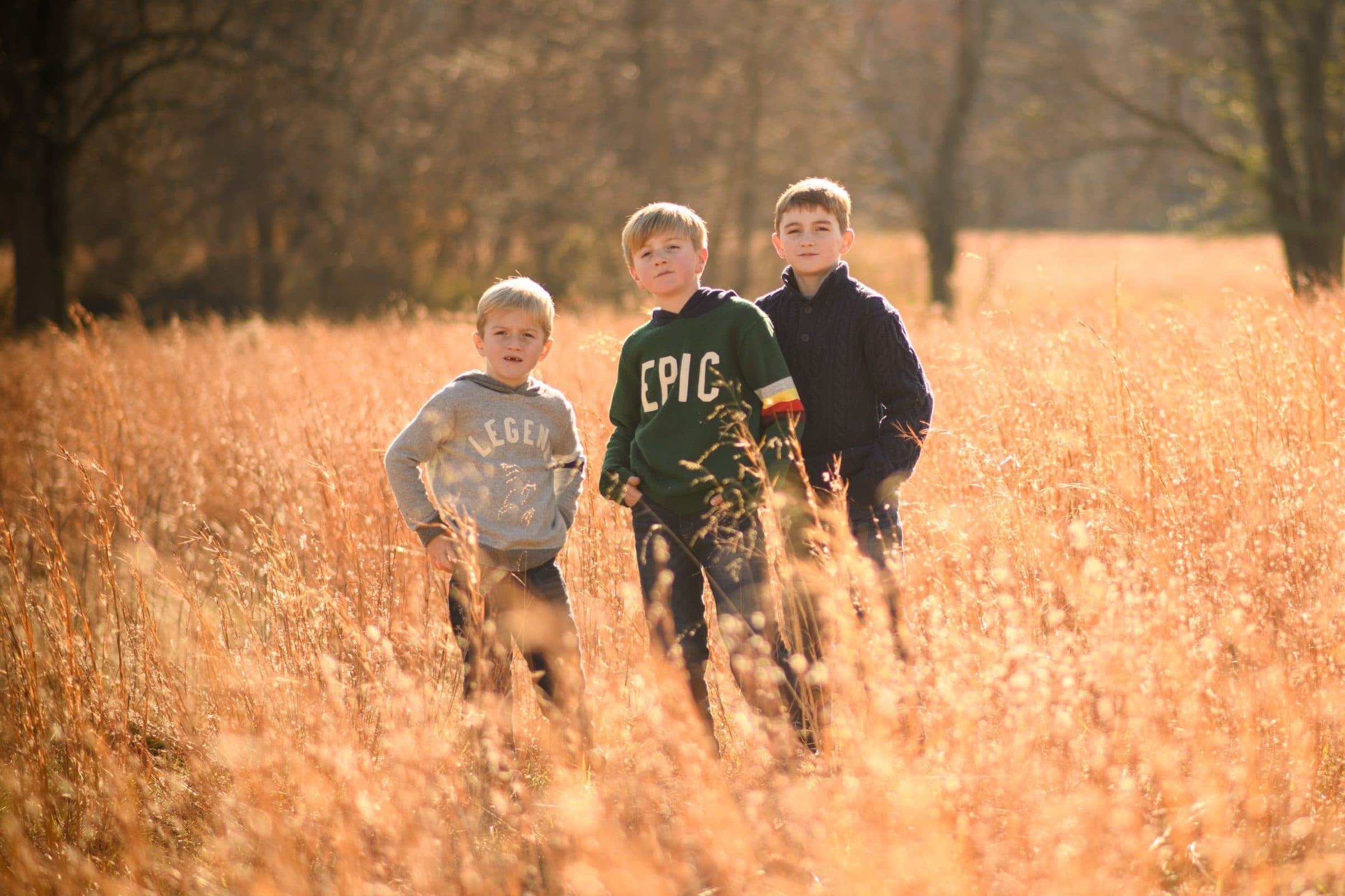 3 brothers in tall grass during magic hour